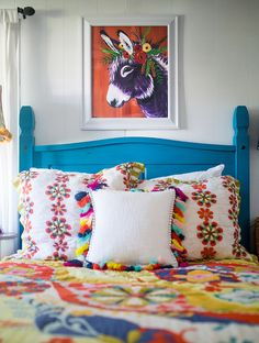 """Rosie"" looks really great over this Anthropologie bedding.  Order prints now!"