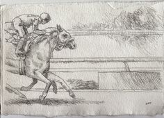 Racing Day #1. 7.5x11in. Horse Racing Drawing #Realism