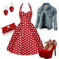 Conjunto con base vestido rojo a topos