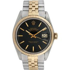 Rolex Women's Vintage Rolex Unisex Two-Tone Datejust Watch, 36mm ($4,115) ❤ liked on Polyvore featuring jewelry, watches, no color, rolex wrist watch, rolex, rolex watches, unisex watches and vintage wrist watch