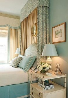 Image result for bed with cornice and curtain