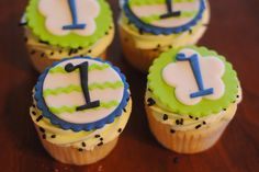 Lime green and Navy Cupcakes