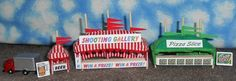 ~~~ N Scale Circus/Carnival Game/Concession Tent Set! Shooting Gallery, Pizza #handmade