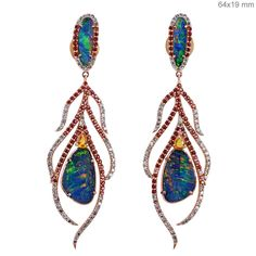 18k Rose Gold Pave Diamond Sapphire Opal FEATHER Dangle Earrings NEW ARRIVALS!!! #Handmade
