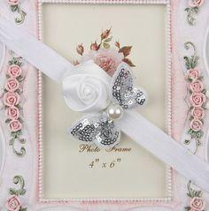 Tiara Infantil Flor  Hairband -  meninas fita  - infantil  bebê  Formato Borboleta de seda com paetês e pérola  Lindo acessório de cabelo   Nas cores Rosa OU Branco