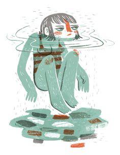 Sauna and Swim - Pam Wishbow Illustration
