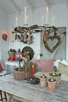 VIBEKE DESIGN: JUL in orangery! similar great projects and ideas as in the picture … - Diy Winter Deko Decoration Christmas, Christmas Interiors, Noel Christmas, Scandinavian Christmas, Country Christmas, Winter Christmas, All Things Christmas, Vintage Christmas, Christmas Crafts