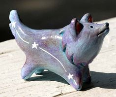 Polymer clay dog painted with acrylics and decorated with white ink - by Lee Sullivan