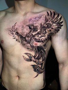 Eagle Chest Tattoo, Cool Chest Tattoos, Chest Piece Tattoos, Eagle Tattoos, Black Tattoos, Cool Tattoos, Phoenix Tattoo Sleeve, Phoenix Tattoo For Men, Phoenix Tattoo Design