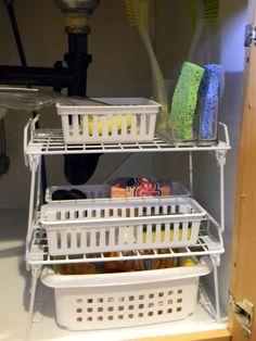 Organizing under the kitchen sink by Organize Decorate Everything Undersink Bathroom Storage, Under Kitchen Sink Organization, Closet Organization, Kitchen Storage, Organization Ideas, Organize Your Life, Organizing Your Home, Organizing Tips, Organising