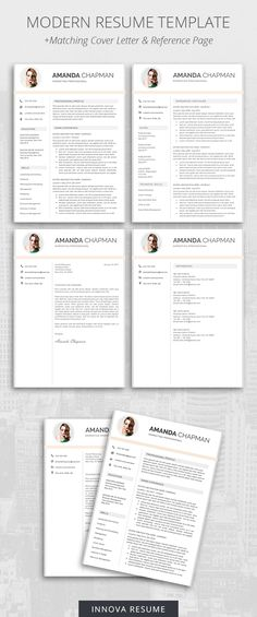 Professional Resume Template for Word Modern Resume Design CV