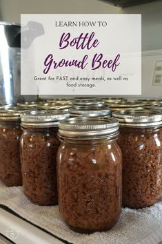 Learn how to bottle ground beef for food storage, quick meals, and save money. Click now for step by step instructions and photos to guide you on the way. Home Canning Recipes, Canning Tips, Emergency Food Storage, Canned Food Storage, Canning Food Preservation, Preserving Food, Pressure Canning Meat, Pressure Cooking, Canning Vegetables