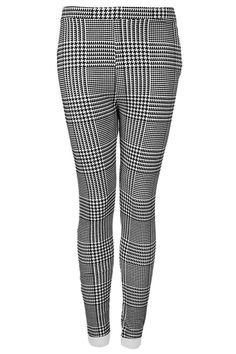 2db994682ebcf6 Flocked check dogtooth ponte legging in white and black