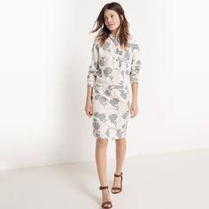 Image Printed Knee Length Dress with Shirt Collar R studio