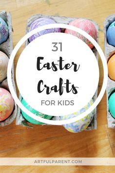 Looking for ideas for Easter crafts for kids? Here are 31 Easter egg decorating ideas, arts and crafts projects, activities, and even a great Easter book list. All perfect for family fun! Art Activities For Kids, Easter Activities, Creative Activities, Creative Kids, Painting For Kids, Drawing For Kids, Art For Kids, Easter Books, Spring Crafts For Kids
