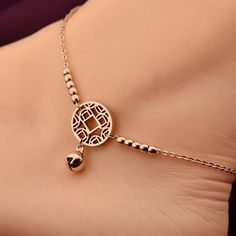 jewelry lanyard on sale at reasonable prices, buy VOGUESS HOT Little Bell Anklet Bracelet Rose Gold Titanium Steel Women Girl Lover Barefoot Anklet Fashion Foot Chain Jewelry from mobile site on Aliexpress Now! Bracelet Rose Gold, Rose Gold Anklet, Silver Anklets, Anklet Bracelet, Bracelets, Women's Anklets, Ankle Jewelry, Body Jewelry, Turquoise Jewelry