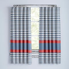 Fine Lines Red Curtains  | The Land of Nod