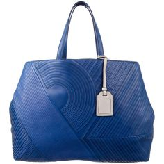 Pre-owned Reed Krakoff Quilted Leather Tote (775 BRL) ❤ liked on Polyvore featuring bags, handbags, tote bags, blue, purse tote, zip tote, blue handbags, hand bags and zip tote bag