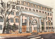 Sketching, promarkers, Financial University, Moscow, architecture