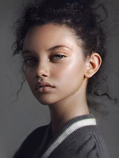 """Portrait of Marina Nery"" - Irakli Nadar, 2016 {figurative realism art beautiful female head woman face hyperreal digital painting #loveart} nad4r.deviantart.com"