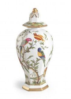 New Chelsea House Urn Bird Paradise Flower Ceramic Hand-Painted...