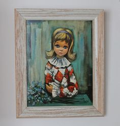 Vintage Big Eyed Pierrette Girl in Wooden Frame by TheLadenBranch