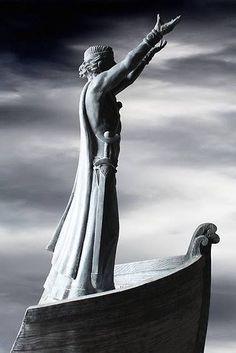 Statue of Manannan Mac Lir (deity of the sea) overlooking the Lough Foyle, near Limavady, County Derry, Ireland.