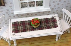 Miniature Table Runner / Table Cloth / Rustic Dollhouse /