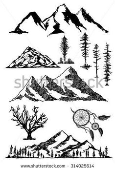 ideas for a mountain tattoo to compliment my island/palm tree.