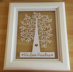 Your place to buy and sell all things handmade Personalised Family Tree, Personalized Christmas Ornaments, Christmas Tree Ornaments, Family Tree Print, Family Tree Frame, Family Trees, Gifts For Nan, Tree Designs, Frame It