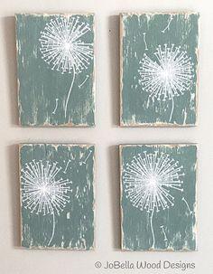 Dandelion Wood Paintings Cottage Blue-Green by JoBellaWoodDesigns