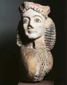 Greek civilization, 6th century B. C. Painted terracotta sphinx. From the acroterion of the Laphrion sanctuary of Kalydon.