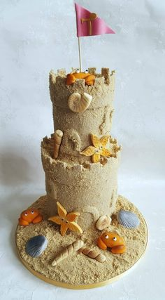 I was asked to make a cake for a little girls birthday which was beach themed. Beach Themed Cakes, Beach Cakes, Cake Cookies, Cupcake Cakes, Cupcakes, Sand Castle Cakes, Fudge, Cake Paris, Beach Treats