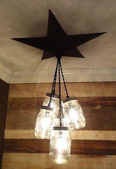 Mason Jar Chandelier Barn Star - Country Rustic Primitive Pendant Light - 5 Jars