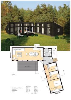 Information om Funkis-Stugan från Erik Berg Arkitekter. Modern House Plans, Small House Plans, House Floor Plans, Dog Trot House Plans, Tiny House Design, Modern House Design, Casa Patio, Casas Containers, Weekend House