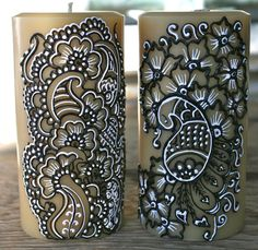 Henna Style Painted Candle, Henna Candles, Indian Weddings, Hostess Gift Candle. $25.00, via Etsy.