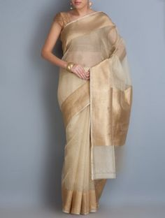 Beige Benarasi Handwoven Kora Silk Saree with Zari Border