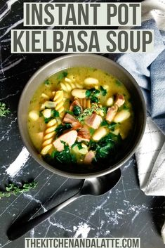 Instant Pot kielbasa is a hearty soup recipe that is easy to make. It can be ready in 30 minutes and is perfect for a busy weeknight dinner with just a small amount of prep. #Instantpotsoups #kielbasasoup #kielbasarecipes #30minutemeal Italian Soup Recipes, Best Pasta Recipes, Pasta Dinner Recipes, Lunch Recipes, Instant Pot Pressure Cooker, Pressure Cooker Recipes, Kielbasa Soup, Pasta Lunch, Crock Pot Soup
