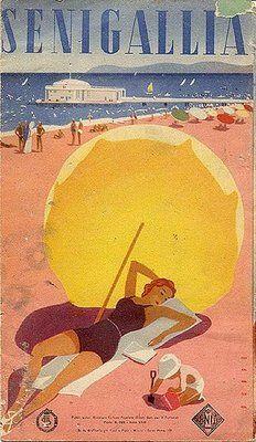 spiaggia di Senigallia, Riviera Adriatica, poster vintage con la Rotonda sul Mare in stile Liberty sullo sfondo - travel italian beach poster #essenzadiriviera