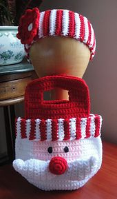Ravelry: Little Girl's Santa Purse/Bag & Striped Flower Headband pattern by Jocelyn Sass
