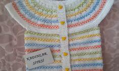 Yakadan Başlamalı Çıtır Modeli Bebek Yeleği Tarifi Baby Knitting Patterns, Sweaters, Fashion, Templates, Sweater Vests, Jackets, Patterns, Tricot, Cast On Knitting
