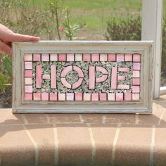Stained Glass Mosaic Repurpose Frame HOPE by ARTfulSalvage on Etsy, $100.00