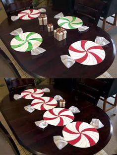 Peppermint Twist Pattern - my girlfriend let us take ours home after our Christmas luncheon - UBBER cute! Christmas Placemats, Christmas Sewing, Christmas Projects, Holiday Crafts, Holiday Fun, Winter Christmas, All Things Christmas, Christmas Holidays, Christmas Decorations