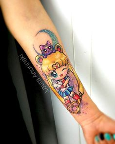 A kawaii Sailor Moon by Laura Anunnaki (IG—anunnakitattoo). Tribal Tattoos, Tattoos Skull, Anime Tattoos, Girly Tattoos, Badass Tattoos, Body Art Tattoos, New Tattoos, Small Tattoos, Awesome Tattoos