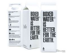 Boxed water in conventional milk carton packaging. Water Packaging, Cool Packaging, Beverage Packaging, Bottle Packaging, Brand Packaging, Packaging Design, Product Packaging, Packaging Ideas, Recyclable Packaging