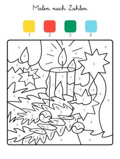 Painting by numbers: coloring a Christmas candle for coloring - Joyeuxx Noel 2020 Adult Coloring Pages, Coloring Pages For Kids, Coloring Books, Color By Numbers, Paint By Number, Christmas Candles, Christmas Crafts, Color By Number Printable, Christmas Coloring Pages