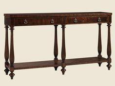 Shop for Henry Link Trading Co. Barcelona Console, 4011-910, and other Living Room Tables at Goods Home Furnishings in North Carolina Discount Furniture Stores. Finish: Port Royal. With solids in Mahogany, the top and lower shelf feature a classic lattice inlay of Walnut, Maple Burl and Satinwood veneers.