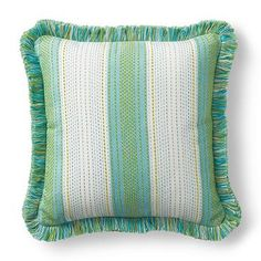 Sunbrella® Nouveau Stitch Wave Outdoor Pillow with Fringe