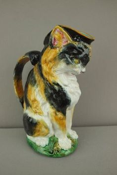 Minton Rare Majolica Figural Cat With Mouse Pitcher,