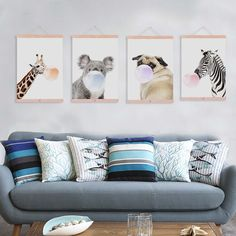 Nordic Kawaii Animal Bubble Panda Giraffe Wooden Framed Canvas Paintin Nursery Kids Room Home Deco Wall Art Print Picture Poster Poster Pictures, Print Pictures, Panda, Multi Picture, Kawaii, Kids Poster, Home And Deco, Nordic Style, Canvas Frame